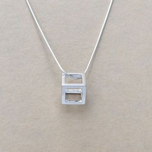 Sterling Silver Cube Pendant and Chain Necklace